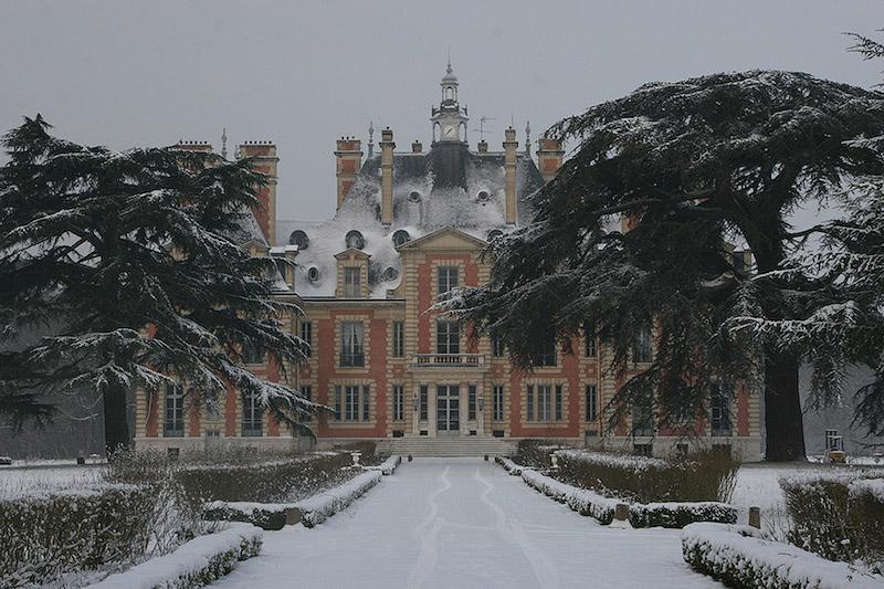 Château de Nainville les Roches sous la Neige